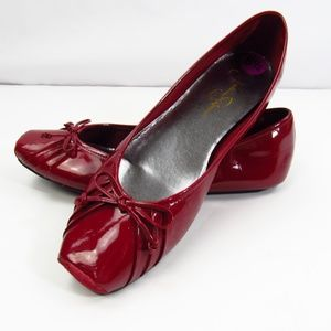 Jessica Simpson Leather Red Ballet Flats 8.5